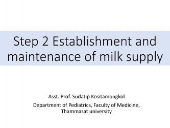Step 2 : Establishment and maintenance of milk supply